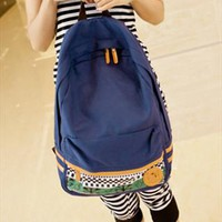 Canvas Backpack with Tribe Embellishment Blue PGI654 from topsales