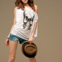 Stylish Pattern Skull Printed Loose T-shirt White