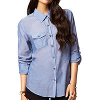 Button Sleeve Chambray Shirt