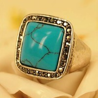 Vintage Style Square Turquoise Ring with Marcasite Setting S from topsales