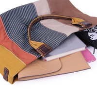Color Blocks Canvas Leather Trim Totes