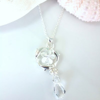 Triple dolphin circle plumeria Swarovski crystal polygon sterling silver necklace