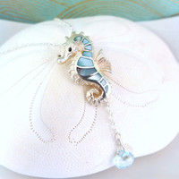 Blue abalone shell sea horse sky blue topaz sterling silver necklace