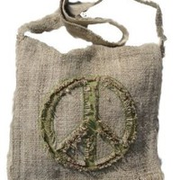Amazon.com: Hemp Peace Sign Sling Bag - Green: Clothing