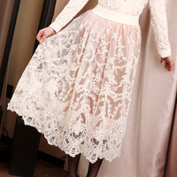 Victorian Lady.Vintage Inspired Pretty Lacy Ivory Skirt. Butter Cream  - Skirts