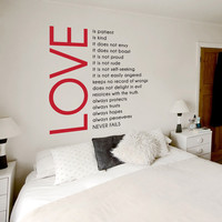 Love is Patient Love is Kind Two Color Wall by WallumsWallDecals