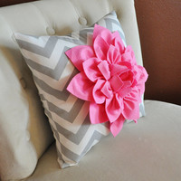 Pink Dahlia on Gray and White Zigzag Pillow Chevron by bedbuggs