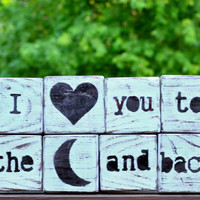 Handpainted Distressed I Love You To The Moon And by jenvcreations