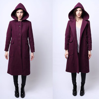 1970s Seeker Plum Hooded Cloak Coat Coat XS / S