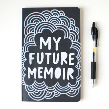 Hand Painted Moleskine, Dark Charcoal Grey, Hand Lettered Notebook, My Future Memoir, Lined Pages, Doodle Illustration, Ready to Ship