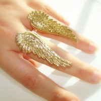 Angel wings ring pair rings brass and sterling by FoxInTheBox