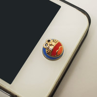 1PC Cute Doraemon Cat Japanese Cartoon Apple iPhone Home Button Sticker for iPhone 4,4s,4g, iPhone 5, iPad, Cell Phone Charm
