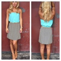 Aqua Strapless Chevron Dress