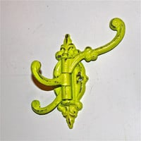 Lime Green SWING ARM Cast Iron Wall Hook by AquaXpressions. Cottage Chic Decor by Aqua Xpressions