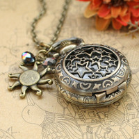 Vintage style locket pocket watch necklace with crystal charms by mosnos