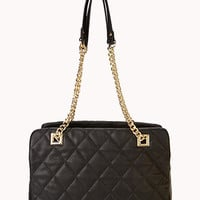 Quilted Double Strap Shoulder Bag