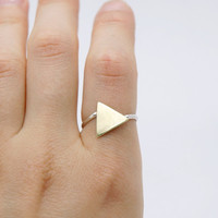 Golden Brass Triangle Sterling Silver Ring - Mixed Metal Jewelry
