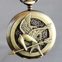 The Hunger Games Logo Mockingjay pendant Golden by qizhouhuang