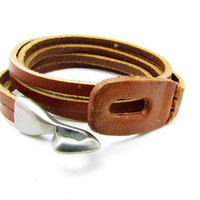 Brown Leather BraceletAlloy Hasp Buckle Cuff by braceletcool