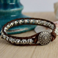 Metal bead bracelet. Rustic leather wrap bracelet.