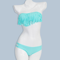 Fringe Bikini Set (In Aqua + White)