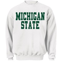 MSU Blocky White Crewneck (B)