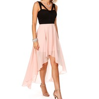 Francesca- BlackParadise Pink Hi Lo Dress