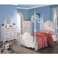 Sophie 4 Pcs Twin Poster Bedroom Set (Bed, Nightstand, Dresser and Mirror) - Coaster Co. | Kids Bedroom Sets