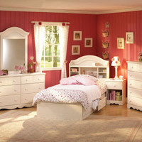 Summer Breeze Bedroom Set in Vanilla Cream (Bed, Nightstand, Dresser and Mirror) | Kids Bedroom Sets