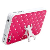 MORTON Hot Pink Dancing Figure Crystal Diamond Inserted Artificial Leather STAND Back Cases for iPhone 4 4s