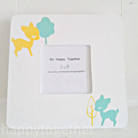 Woodland Baby Fawn Frame Yellow and Mint by soohappytogether