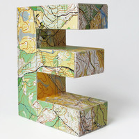 Any letter made from orienteering maps by littlewhitedog on Etsy