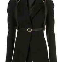 TOPSHOP UNIQUE BLACK WOOL OPEN BACK LEATHER HARNESS BLAZER JACKET S 10 6 38 RARE