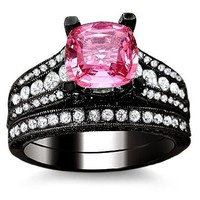 3.10ct Pink Sapphire Diamond Engagement Ring Bridal Set 18K Black Gold