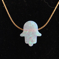 Pink Opal Hamsa Necklace on 14Kt Gold fill chain