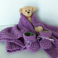 Baby/Toddler Girls Orchid Purple Double Crochet by SnugableTouches