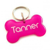 Pink Dog Bone Designer Pet Id Tag - Happy Tags