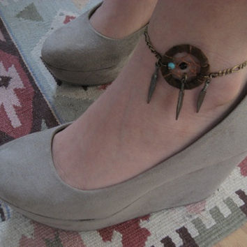 Brown Leather Dream Catcher Anklet Bronze Feather by Azeetadesigns