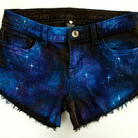 Beautiful Hand Painted Galaxy Black Denim by GirlMeetsClothes on Etsy