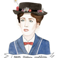 Mary Poppins watercolour portrait PRINT Julie by ohgoshCindy
