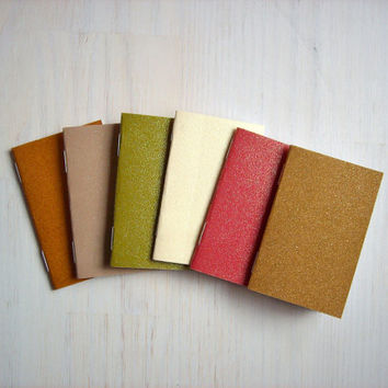 6 Tiny Journals Set, Glitter, Sparkles, Textured, Color, Journals, Jotters, Mini Journals, Small Notebooks, Party Favors - Set of 6
