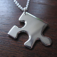 Silver Jigsaw Puzzle Piece Necklace Pendant by GorjessJewellery