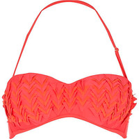 Red triangle cut out balconette bikini top - bikinis - swimwear / beachwear - women