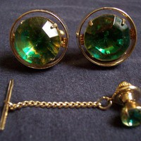 Vintage Pair Cufflinks Tie Tac Green Stone Gold Tone Round | SandyCreekCollectables - Jewelry on ArtFire