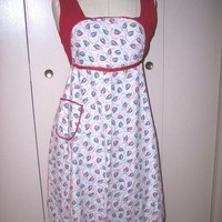 Vintage Full Bib Apron 1950s Kitchen Ladies Pocket Ties Floral Leaf | SandyCreekCollectables - Kitchen & Serving on ArtFire