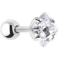 16 Gauge 5mm Clear CZ Square Cartilage Tragus Earring | Body Candy Body Jewelry