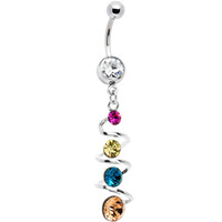 Vibrant Summerlicious Spiral Dangle Multi Gem Belly Ring | Body Candy Body Jewelry