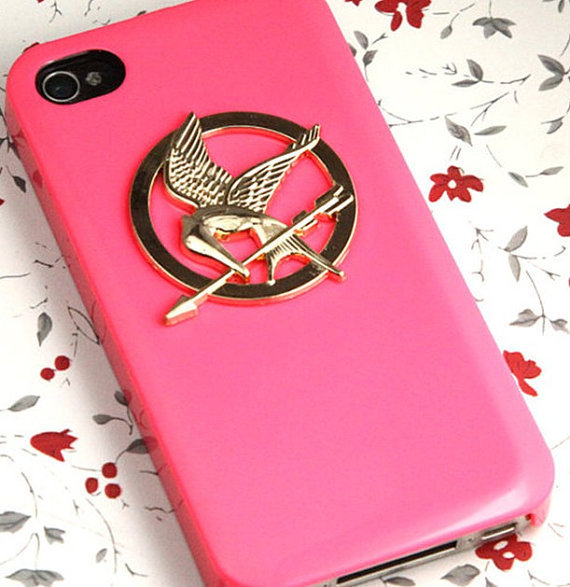 The Hunger Games Logo golden Mockingjay pendant by qizhouhuang