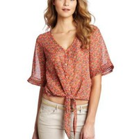 Democracy Women's Button Tie Front Top With Bell Sleeve Shirt