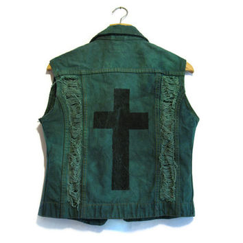 Green denim vest with black cross M / L